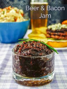 Beer & Bacon Jam i. With a base of onions, bacon, maple syrup and stout beer, this incredible savory jam is delicious on burgers, steaks and chops!