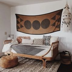 Given the overall impact a daybed makes on a living room, you can't simply consider it on its own. When considering daybed living room ideas,… Bohemian Living Rooms, Bohemian Bedroom Decor, Living Room Decor, Dining Room, Bohemian Interior, Rattan Daybed, Daybeds, Style Deco, Bohemian Style