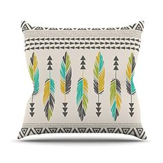 KESS InHouse AL1022AOP03 18 x 18-Inch 'Amanda Lane Painted Feathers Cream Tan Tribal' Outdoor Throw Cushion - Multi-Colour