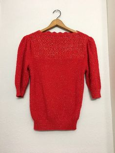 3edf511119 Vintage 70s SPARKLE RED Scallop Sweater   Red And Silver Metallic Knit Shirt  With Quarter Sleeves   Womens Medium Large