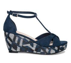 Sandale compensée ethnique bleue - Sandales talon - Chaussures femme