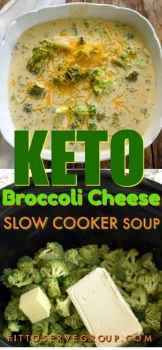 Keto Broccoli Cheese Slow Cooker Soup A recipe for keto broccoli cheese soup. It's low carb broccoli and cheese soup made easily in . Crock Pot Recipes, Slow Cooker Recipes, Soup Recipes, Diet Recipes, Cooking Recipes, Healthy Recipes, Cooking Tips, Best Low Carb Recipes, Crockpot Ideas