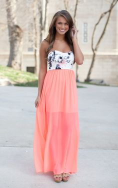 The Pink Lily Boutique - Meet Me In Paradise Neon Coral Maxi, $40.00 (http://thepinklilyboutique.com/meet-me-in-paradise-neon-coral-maxi/)