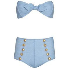 Lisa Marie Fernandez Poppy High Waist Denim Bikini- FINAL SALE ($395) ❤ liked on Polyvore featuring swimwear, bikinis, denim, high rise bikini swimwear, denim bikini, high-waisted bikini, bikini two piece and high-waisted swimwear