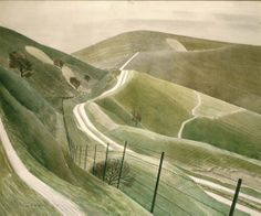 Chalk Paths, 1935. Eric Ravilious (1903-1942), South Downs, Sussex, England, watercolour.