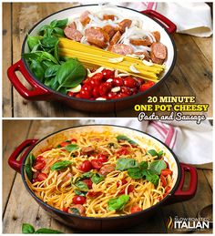 One Pot Cheesy Pasta and Sausage- A creamy cheesy tomato basil sauce is cooked right into the linguine pasta in this amazing One Pot Pasta recipe, ready in 20 Minutes!  Toss it all in a pot and let it cook.  It's so easy it just about cooks itself.  Now that's my kind of meal. #recipe #onepotmeal #cheesy #pasta GET THE RECIPE --> http://www.theslowroasteditalian.com/2014/03/one-pot-cheesy-pasta-and-sausage-recipe.html