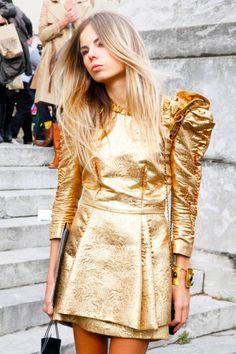 gold brocade and big shoulders in Paris #streetstyle