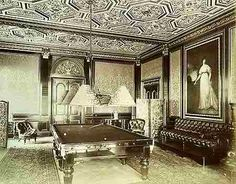 The billiards room Worth Park Sussex 1886 a wonderful example of Second Empire taste