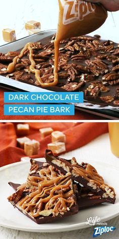This dark chocolate pecan pie bark recipe makes for a delicious holiday treat and dessert. Carefully use a Ziploc® bag to pipe on softened caramel then sprinkle with pecans. This bark idea is easy to make before your Christmas party, or to give as a gift Candy Recipes, Sweet Recipes, Holiday Recipes, Dessert Recipes, Homemade Pecan Pie, Homemade Candies, Homemade Chocolate Bark, Melted Chocolate, Chocolate Drizzle