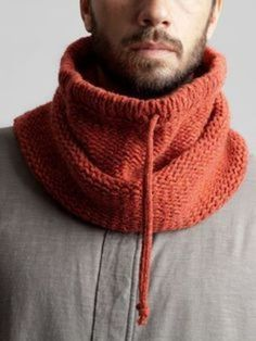 Knit/crochet a rectangle in stitches of your choice until it's a goodly size.Hooded cowl for menKnitting Patterns Men Knitted man& snipe / hat-hood with knitting needles. Knit Cowl, Knitted Shawls, Crochet Scarves, Scarf Hat, Wool Scarf, Men Scarf, Loom Knitting, Hand Knitting, Crochet Men