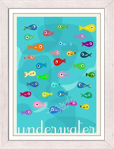 Wall Decor Nursery Poster Little Fishes Kids Bathroom Wall Decor Nursery Room Modern Decoration Spnr018
