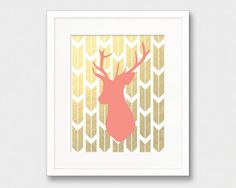 Coral Deer Head Silhouette Gold Arrows Gold by thekismetprintpress, $5.00