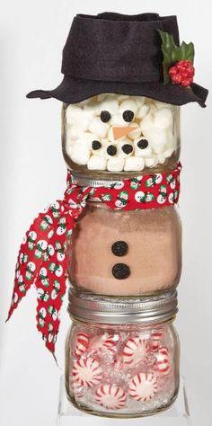Ball Jar Snowman from @joannstores   DIY Jar Gift   Peppermint Hot Chocolate Jar   Mason Jar Gifts by Raelynn8