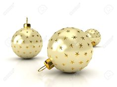 Christmas Balls Over White. 3d Rendered Image Stock Photo, Picture ...