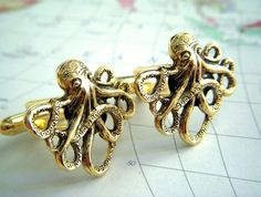 Gold Octopus Cufflinks Gothic Victorian Nautical Steampunk Style The Originals From Cosmic Firefly