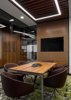 ABD Architects were engaged by OTP Bank to design their nature-inspired offices located in Moscow, Russia. Style of OTP Bank office interior is Office Cabin Design, Corporate Office Design, Modern Office Design, Office Interior Design, Office Interiors, Corporate Offices, Otp Bank, Conference Room Design, Banks Office
