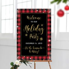 Christmas Party Welcome Sign Holiday Themes, Christmas Themes, Holiday Parties, Christmas Decorations, Merry Christmas Sign, Christmas Poster, Welcome Chalkboard, Party Signs, Print Store