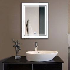 Pictures In Gallery  x In Vertical LED Backlit Bathroom Mirror Touch Button