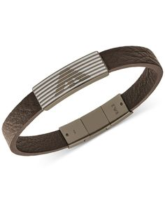 Fine Jewelry Mens Brown Leather and Stainless Steel Bullet Bracelet cEfvpqQVa