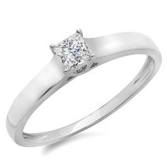 IGI CERTIFIED 0.25 Carat (ctw) 14K White Gold Princess Cut Diamond Ladies Lucida Style Solitaire Bridal Engagement Ring 1/4 CT. An outstanding collection of Diamond Jewelry at great prices from Dazzling Rock.