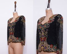 1980s black silk beaded top / Vintage 80s evening glam by Ainshent, $49.00