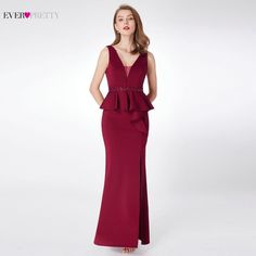 18d2e5556ab8 2018 Prom Dresses Ever Pretty EP07271 Elegant A-line V-neck Sleeveless Leg  Slit Burgundy Beading Evening Party Dresses for Women