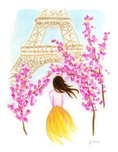 Paris in Spring  Watercolor Gouache Print by KaraEndres on Etsy, $25.00