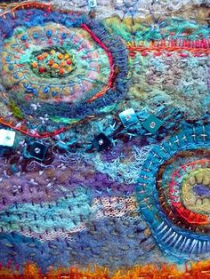 Jane Lafazio Gelli inspiration Aug 2013 Rainbow Series: Teal and Gold ~ detail Textiles, Embroidery Stitches, Hand Embroidery, Art Tribal, Creation Art, Textile Fiber Art, Teal And Gold, Felt Art, Fabric Art