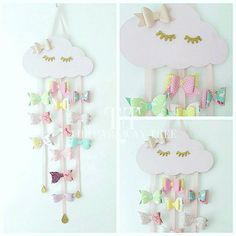 WOODEN CLOUD hair bow holder sleepy cloud pastel pink hair