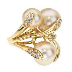 18K Yellow Gold & Diamond South Sea Pearl Ring #rings #jewelry #Rajola