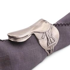 English Saddle Pewter Napkin Rings