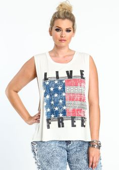 Plus Size Live Free Americana Tee - Love Culture