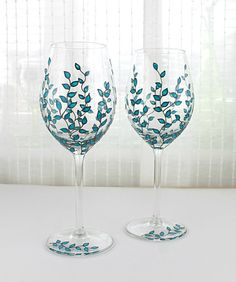 Wine Glasses Blue Leaves Design Wedding glasses by witchcorner