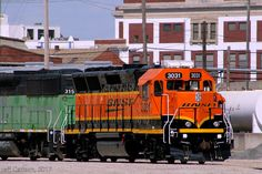 https://flic.kr/p/TZFLyL | Fresh 40X in Topeka | The BNSF 3031 was hanging out at the BNSF shops in Topeka recently, looking REALLY good!  I was rebuilt at MPI (somewhere...?) and was originally the ATSF 3801.  It's not every day that you find freshly repainted GP40Xs.