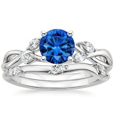 18K White Gold Sapphire Willow Bridal Set (1/4 ct. tw.), top view