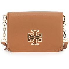 Tory Burch Britten Combo Crossbody Bag ($425) ❤ liked on Polyvore featuring bags, handbags, shoulder bags, bark, leather handbags, genuine leather handbags, chain strap shoulder bag, leather cross body purse and leather purse