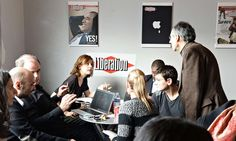 Editorial staff of Charlie Hebdo and Libération gather in the headquarters of Libération