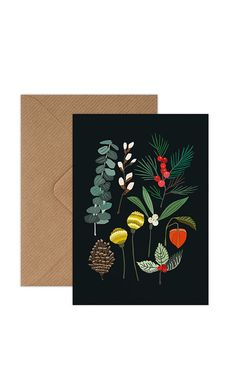 Single A6 christmas card with Winter Foliage design,blank inside. 100% recycled, envelope included.