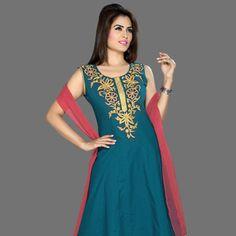 Dark Teal Blue Cotton Readymade Churidar Kameez Online Shopping: KYC1538