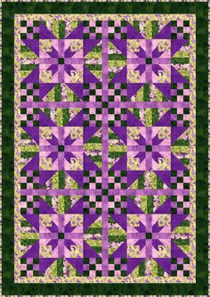 Lavender Blossoms Quilt Pattern BS2-360 (advanced beginner, lap and throw, twin)- Barb Sackel- $10.00