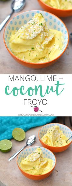Mango, Lime and Coconut Frozen Yoghurt, perfect healthy summer dessert!
