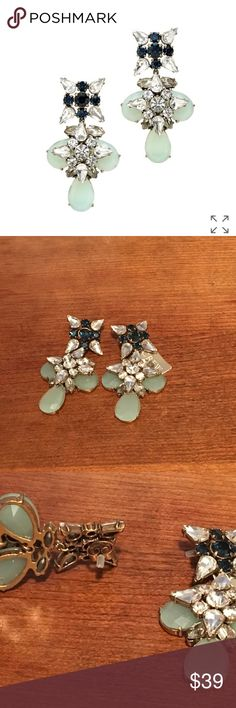 """NWT J. Crew Blue Grotto Crystal Earrings Length 2.5"""".  Starry crystals and aquatic stones. Brass, glass. Light gold ox plating. J. Crew Jewelry Earrings"""
