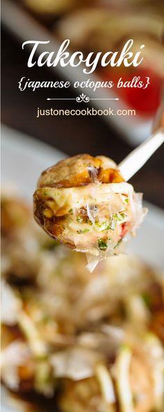 Takoyaki or Octopus Balls (Japan's best-known street food originated in Osaka) | Easy Japanese Recipes at @justonecookbook