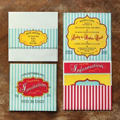 seaside/funfair themed wedding stationary  invitation set by Dottie Creations http://www.dottiecreations.com/QUIRKY_460045.html