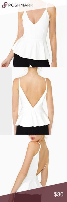 Nasty Gal White Peplum Top Nasty Gal White Peplum Top with Low Back Nasty Gal Tops
