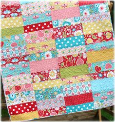"Apple Cobbler Quilt Pattern Carlene Westberg Designs #cjw-027   This is an Instant Download PDF Quilt Pattern. Apple Cobbler is an easy beginner level baby or toddler quilt that will give you some practice piecing your rows together to give you straight lines. It works well with large and small scale prints, pastel or bright colors. Fabric Requirements: Baby-40"" by 50"" 10 fat quarters 1-5/8 yards for backing 3/8 yard for binding (for more variety, use 20 fat quarters and mix them between two…"