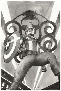 Captain America: Hail Hydra #1: Finished black and white art for Captain America: Hail Hydra #1.