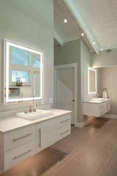 miroir rectangulaire avec bandeau lumineux miroir salle de bain carrelage beige glace salle de bain