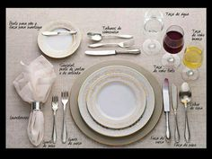 Table setting - Como arrumar a mesa! Party Decoration, Table Decorations, Centerpieces, Wein Parties, Cena Formal, Dining Etiquette, Etiquette And Manners, Learn Portuguese, Table Manners