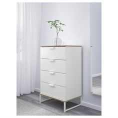 TRYSIL Chest of 4 drawers - white, light grey - IKEA - fingerling Small Dresser Ikea, Kitchen Dresser Ikea, Tall White Dresser, White 6 Drawer Dresser, White Chest Of Drawers, Dresser Drawers, White Dressers, Ikea Trysil, Ikea Bedroom Furniture